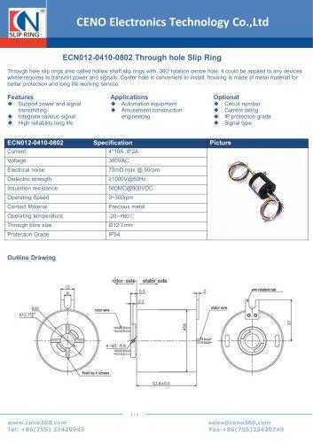 CENO Through hole slip ring ECN012-0410-0802