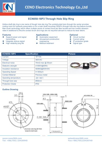 CENO Through Hole Slip Ring ECN050-18P3