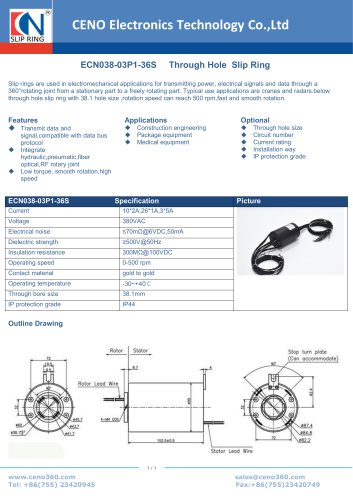 CENO Through hole slip ring for crane ECN038-03P1-36S