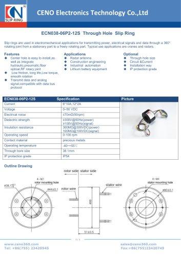 CENO Through hole slip ring for radar ECN038-06P2-12S
