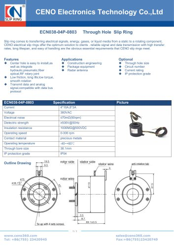 CENO Through hole slip ring with flying lead ECN038-04P-0803