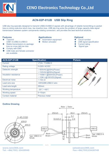 CENO USB Slip Ring ACN-02P-01UB