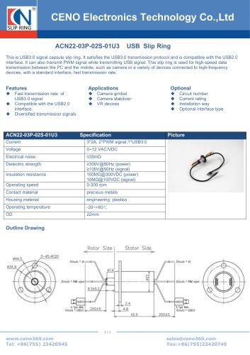 CENO USB3.0 slip ring ACN22-03P-02S-01U3