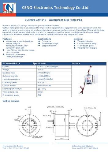 CENO Waterproof Slip Ring IP68 ECN060-02P-01S