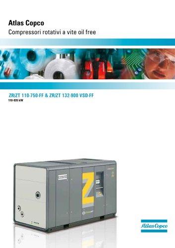ZR/ZT 110-750-FF & ZR/ZT 132-900 VSD-FF Atlas Copco Compressori rotativi a vite oil free 110-935 kW