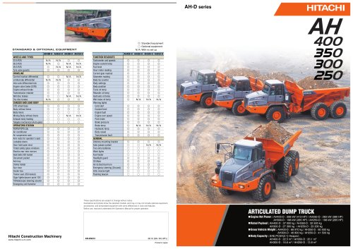 AH-D series - Articulated Dump Trucks