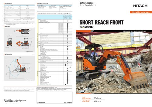 SHORT REACH FRONT zaxis 38U
