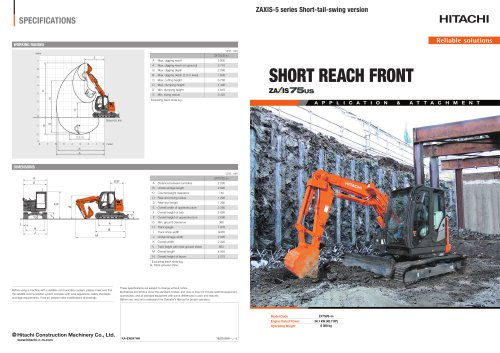 SHORT REACH FRONT zaxis 75US