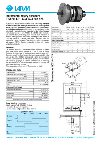 Incremental rotary encoders IRC520, 521, 523, 524 and 525