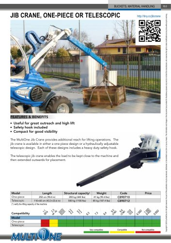JIB CRANE, ONE-PIECE OR TELESCOPIC