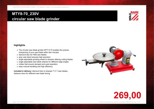 MTY8-70_230V circular saw blade grinder
