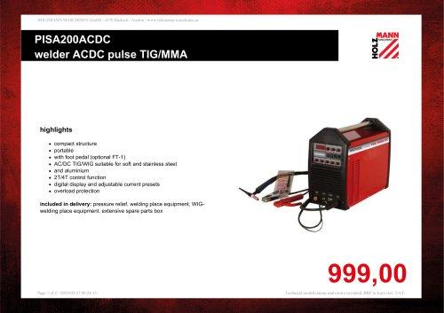 PISA200ACDC welder ACDC pulse TIG/MMA