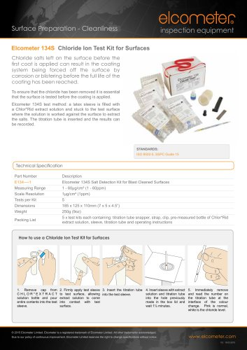 Elcometer 134S Chloride Ion Test Kit for Surfaces