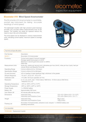 Elcometer 410 Wind Speed Anemometer