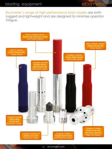 Elcometer's range of high performance blast nozzles