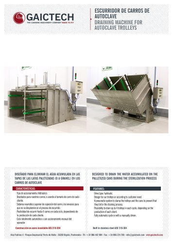 DRAINING MACHINE FOR AUTOCLAVE TROLLEYS