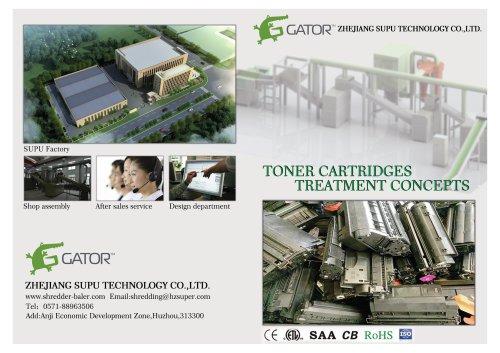 Toner cartridges recycling line