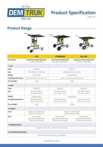 Demtruk 500 Range Spec Sheet