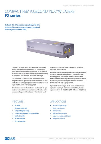 FX series - COMPACT FEMTOSECOND Yb:KYW LASERS