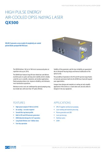 QX500 - HIGH PULSE ENERGY AIR-COOLED DPSS Nd:YAG LASER