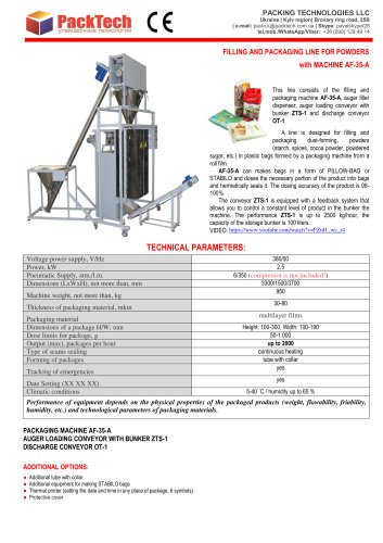 FILLING AND PACKAGING LINE FOR POWDERS with MACHINE AF-35-A