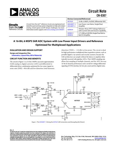 A 16-Bit, 6 MSPS SAR ADC System with Low Power Input Drivers and Reference Optimized for Multiplexed Applications