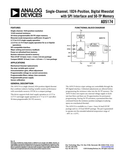 AD5174:  Single-Channel, 1024-Position, Digital Rheostat with SPI interface and 50-TP Memory