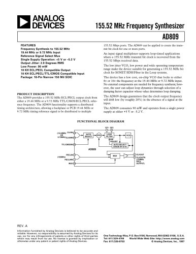 AD809:  155 MHz Frequency Synthesizer