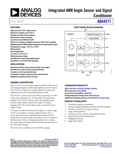 ADA4571: Integrated AMR Angle Sensor and Signal Conditioner Data Sheet