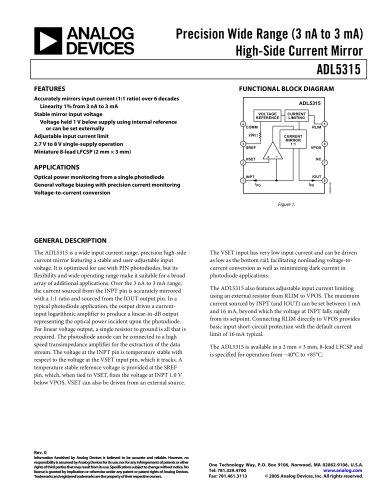 ADL5315: Precision Wide-Range (3 nA - 3 mA) High-Side Current Mirror Data Sheet (Rev. 0)