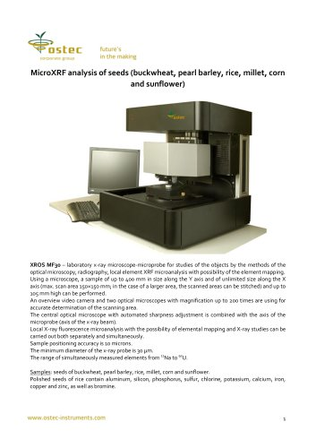 MicroXRF analysis of seeds (buckwheat, pearl barley, rice, millet, corn and sunflower)