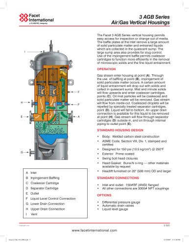 3 AGB Series air/gas vertical separator housings