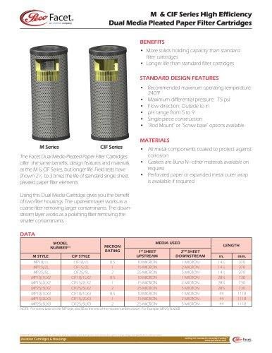 M & CIF Series High Efficiency Dual Media Pleated Paper Filter Cartridges