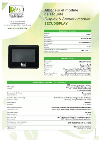 Afficheur et module de sécurité / Display & Security module