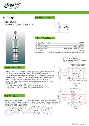 Cartridge pressure relief valve MPRDB