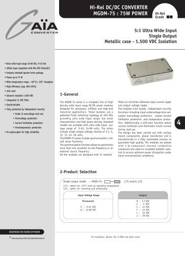 DC/DC Module Datasheet 75 Watts Series