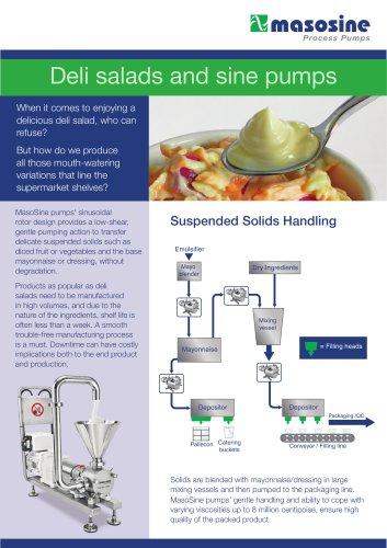 Sine pumps in deli salads process