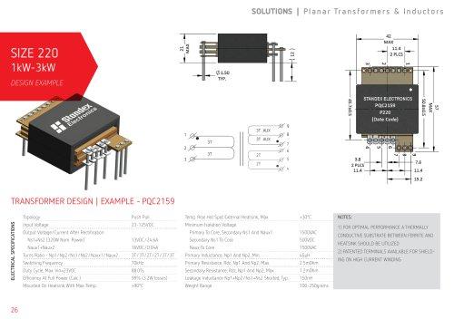 1kW-3kW Planar Transformers   Size 220