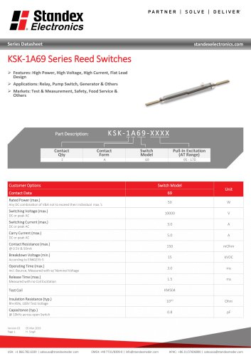 KSK-1A69 Series Reed Switches