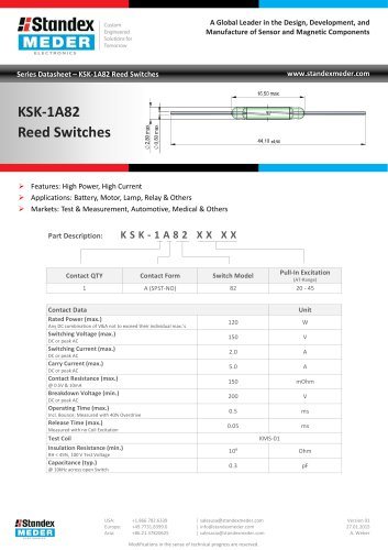 KSK-1A82 Series Reed Switches