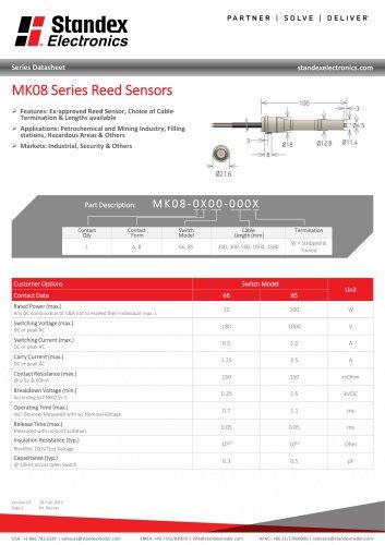 MK08 SERIES REED SENSOR