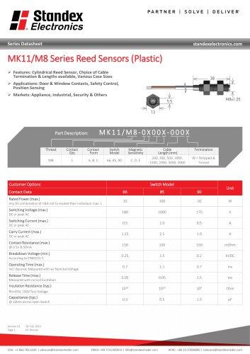 MK11 PLASTIC SERIES REED SENSOR