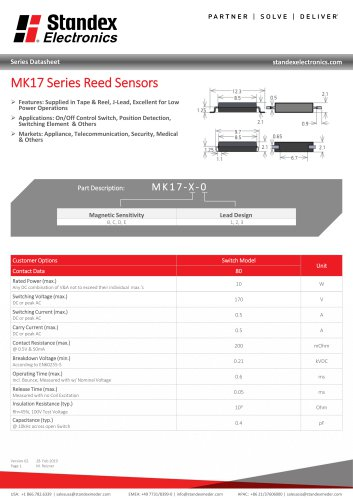 MK17 SERIES REED SENSOR