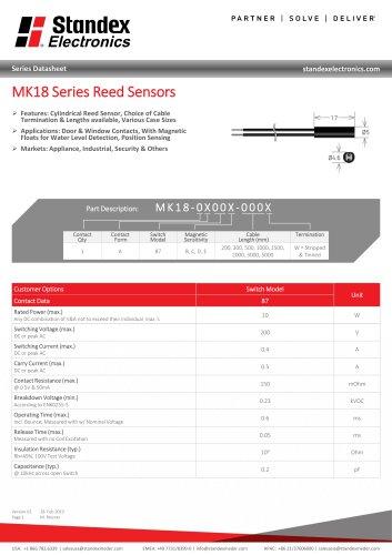 MK18 SERIES REED SENSOR