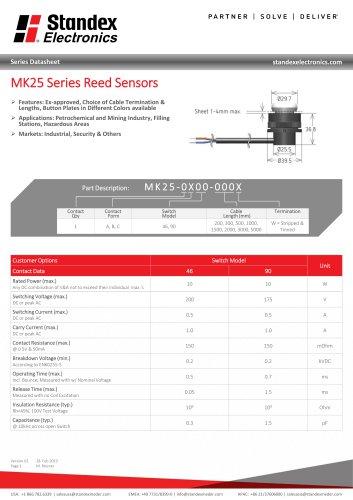 MK25 SERIES REED SENSOR