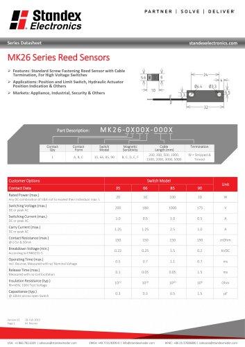 MK26 SERIES REED SENSOR