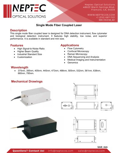 Single Mode Fiber Coupled Laser
