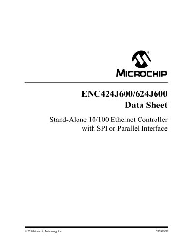 Stand-Alone 10/100 Ethernet Controller with SPI or Parallel Interface