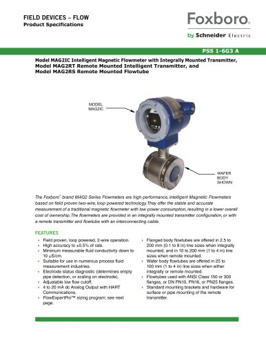 Model MAG2IC Intelligent Magnetic Flowmeter with Integrally Mounted Transmitter, Model MAG2RT Remote Mounted Intelligent Transmitter, and Model MAG2RS Remote Mounted Flowtube