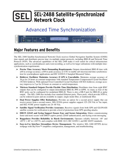 SEL-2488 Satellite-Synchronized Network Clock